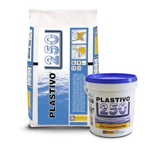 Plastivo 250: Polymeergemodificeerde twee componenten tixotrope en flexibele waterdi - Promacom