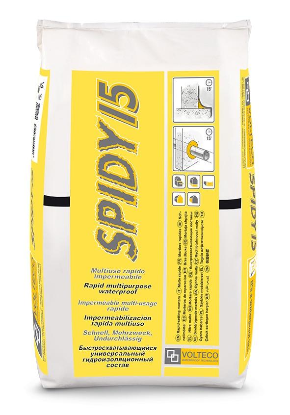 Spidy 15: Snelzettende waterdichte cementmortel voor waterdichtingswerken en kle - Promacom