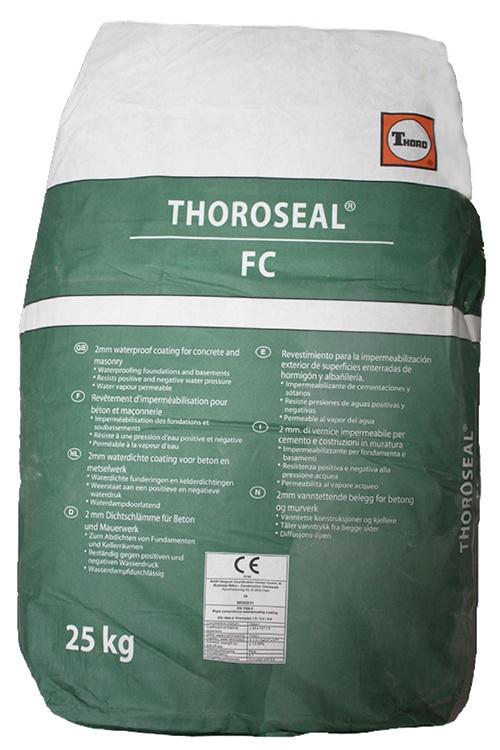 Thoroseal FC: Cementgebaseerde coating voor waterdichting van funderingen, vijvers,  - Promacom