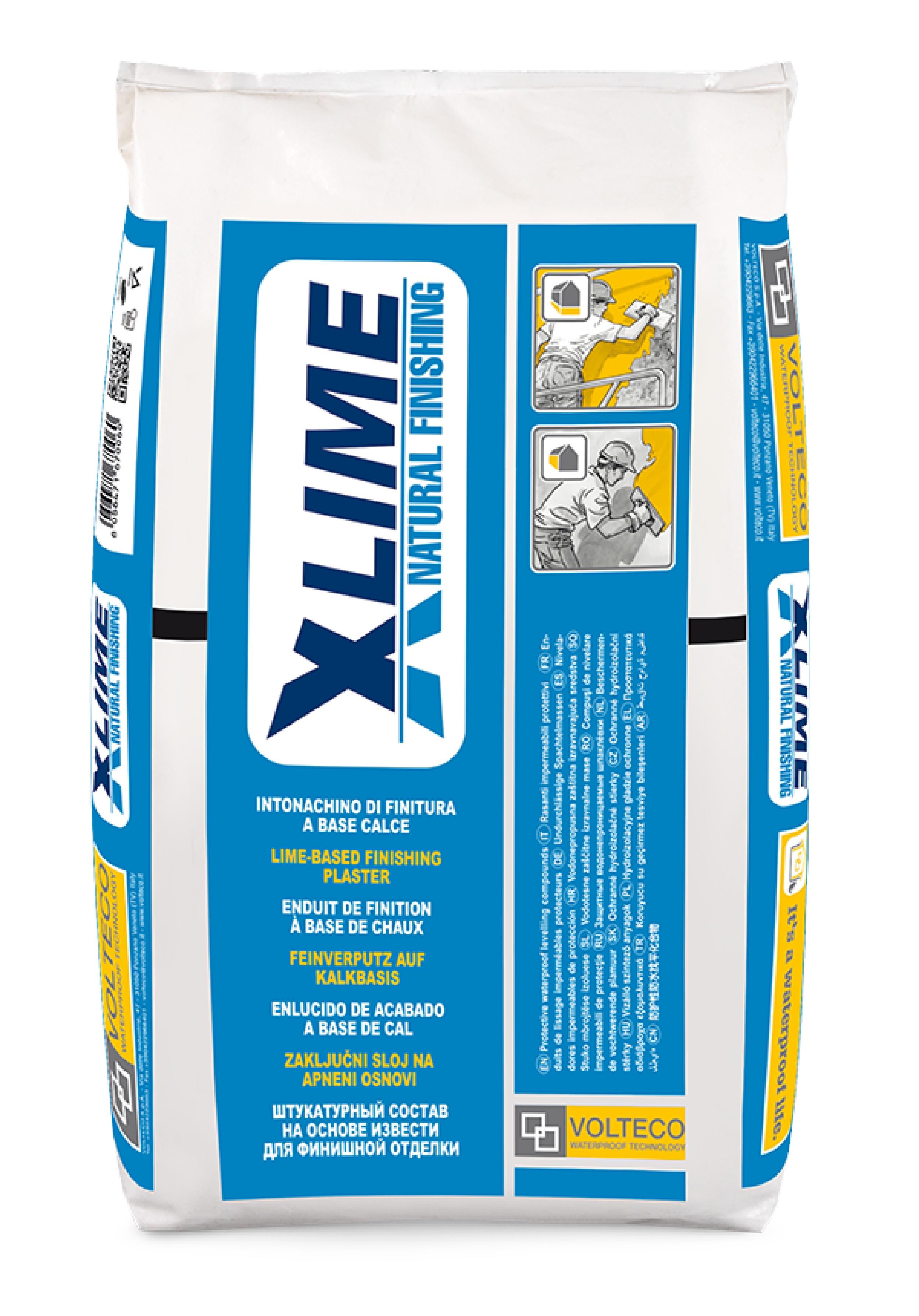 X-lime: Witte, voorgedoseerde waterafstotende afwerkpleister op kalkcementbasis - Promacom